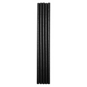 SOLID BLACK PAPER STRAWS 8""